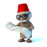 3d Moroccan reads his map Stock Photo