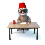 3d Moroccan sits at his desk Stock Image