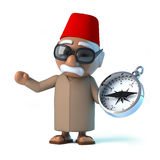 3d Moroccan uses his compass Royalty Free Stock Image