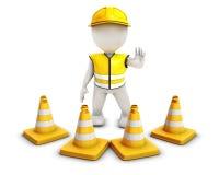 3D Morph des cônes de constructeur d'homme avec prudence Photographie stock libre de droits