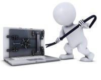 3D Morph l'uomo che si rompe in un computer portatile Immagine Stock