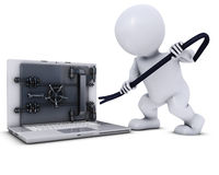 3D Morph Man breaking into a laptop Stock Image