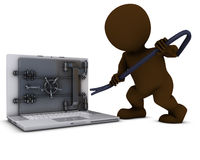 3D Morph Man breaking into a laptop Stock Images