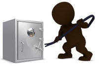 3D Morph Man breaking into a safe Stock Photo