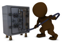 3D Morph Man breaking into a safe Royalty Free Stock Photo