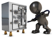 3D Morph Man breaking into a safe Royalty Free Stock Photography