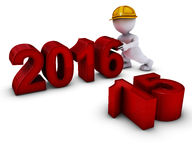 3D Morph Man bringing in the new year Royalty Free Stock Photos