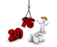 3D Morph Man bringing in the new year Royalty Free Stock Images