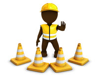 3D Morph Man Builder with Caution Cones. 3D Render of Morph Man Builder with Caution Cones Stock Photo