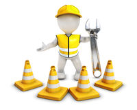 3D Morph Man Builder with Caution Cones. 3D Render of Morph Man Builder with Caution Cones Stock Image