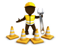 3D Morph Man Builder with Caution Cones. 3D Render of Morph Man Builder with Caution Cones Stock Photos
