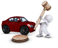 3D Morph Man with car and gavel Stock Image