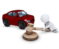 3D Morph Man with car and gavel Stock Photography