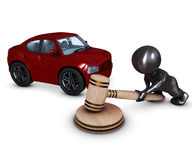 3D Morph Man with car and gavel Royalty Free Stock Photography