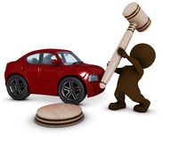 3D Morph Man with car and gavel Royalty Free Stock Image