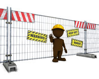 3D Morph Man at Construction Fence Stock Image