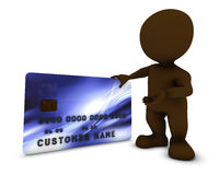 3D Morph Man with credit card Royalty Free Stock Photo