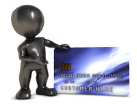 3D Morph Man with credit card Stock Image