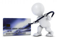 3D Morph Man and credit theft Royalty Free Stock Photo