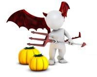 3D Morph Man Daemon with pumpkins. 3D Render of Morph Man Daemon with pumpkins Stock Images