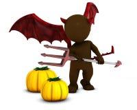 3D Morph Man Daemon with pumpkins. 3D Render of Morph Man Daemon with pumpkins Stock Photos