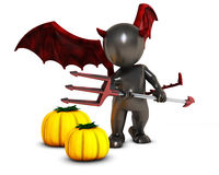 3D Morph Man Daemon with pumpkins Royalty Free Stock Photography