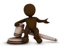 3D Morph Man with gavel Royalty Free Stock Photo