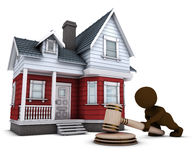 3D Morph Man with house and gavel Stock Image
