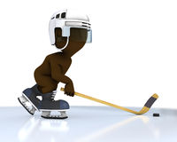 3D Morph Man playing ice hockey Stock Photos
