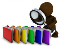 3D Morph Man searching folders with magnifying glass Stock Photography