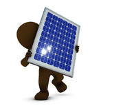 3D Morph Man with solar panel Royalty Free Stock Images