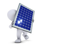 3D Morph Man with solar panel Royalty Free Stock Image