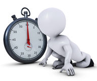 3D Morph Man on starting blocks and stop watch Stock Photo