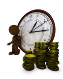3D Morph Man time is money. 3D Render of Morph Man time is money Royalty Free Stock Image