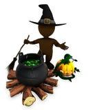 3D Morph Man Witch with cauldron Stock Photos