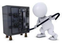3D Morph o homem que quebra em um cofre forte ilustração stock