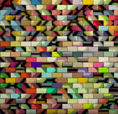 3d mosaic tile brick wall in multiple color pattern Stock Photo