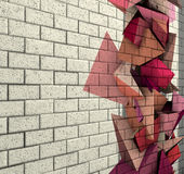 3d mosaic tile brick wall with pink fragmented shape Stock Image