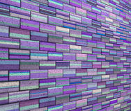 3d mosaic tile brick wall in purple blue stripe Stock Images