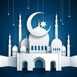 3d mosque and crescent moon with stars - Ramadan Kareem or Ramazan Kareem background - paper craft style - vector stock illustration