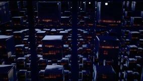3d motie de grafiek voorzag animatie van een lus als donkere achtergrond in 4k met eenvoudige kubussen en velddiepte Donkere same stock illustratie