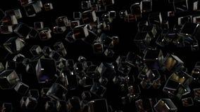 3d motie de grafiek voorzag animatie van een lus als geometrische zwarte achtergrond in 4k met eenvoudige voorwerpen en velddiept royalty-vrije illustratie