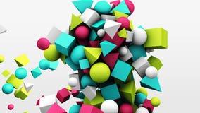 3d motiegrafiek, dynamische geometrische vormkubussen, kegels, gebieden en andere abstracte achtergrond stock footage