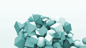 3d motion graphics, dynamic geometric shape cubes, cones, spheres and other. Abstract background stock video footage