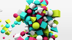 3d motion graphics, dynamic geometric shape cubes, cones, spheres and other. Abstract background. 3d motion graphics, dynamic geometric shape cubes, cones stock footage