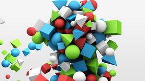 3d motion graphics, dynamic geometric shape cubes, cones, spheres and other. Abstract background stock video