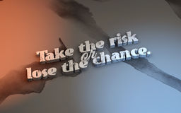 3D Motivational poster. Take the risk or lose the chance. Motivational poster with watersplash background Stock Photos