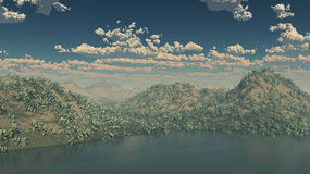 3d  mountain island with with mix environment and scattered clouds. And sea Stock Images