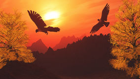 3D mountain landscape with eagles Stock Photo