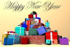 3D mountain of New Year`s gifts and the inscription Happy New Year stock illustration